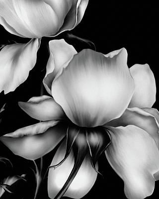 Digital Art - Dark Kisses Of The Night Black And White by Georgiana Romanovna