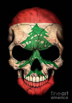 Dark Lebanese Flag Skull Art Print by Jeff Bartels