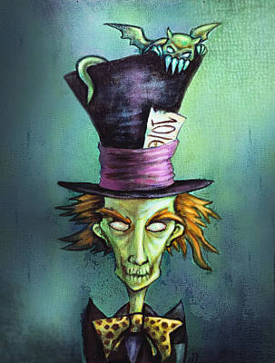 Mad Hatter Painting - Dark Mad Hatter by Diana Levin