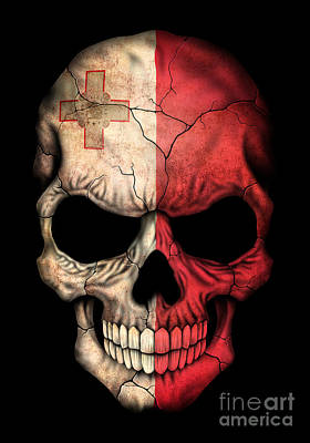Maltese Digital Art - Dark Maltese Flag Skull by Jeff Bartels