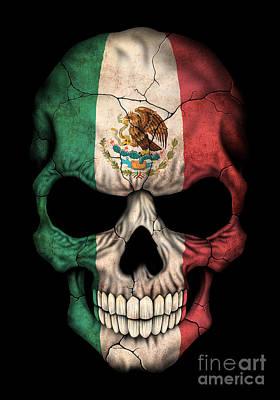 Jeff Digital Art - Dark Mexican Flag Skull by Jeff Bartels