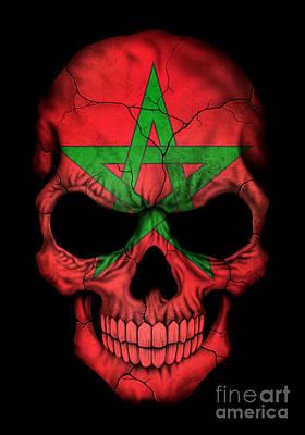 Moroccan Digital Art - Dark Moroccan Flag Skull by Jeff Bartels