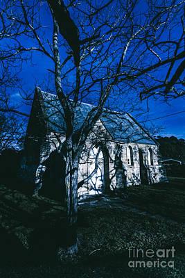 Moonlit Photograph - Dark Mysterious Church by Jorgo Photography - Wall Art Gallery