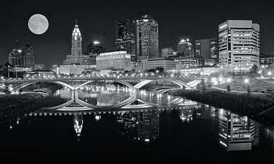 Photograph - Dark Night Columbus Black And White by Frozen in Time Fine Art Photography