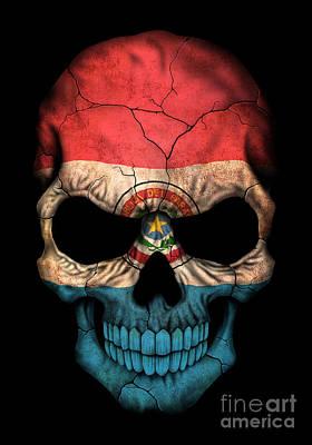 Dark Paraguay Flag Skull Art Print by Jeff Bartels