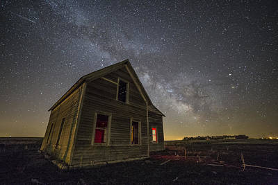 Photograph - Dark Place With Meteor  by Aaron J Groen