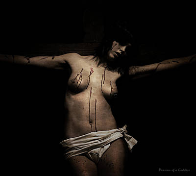 Crucifixion Wall Art - Photograph - Dark Portrait Of A Female Jesus IIi by Ramon Martinez