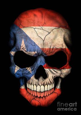 Puerto Rico Digital Art - Dark Puerto Rican Flag Skull by Jeff Bartels