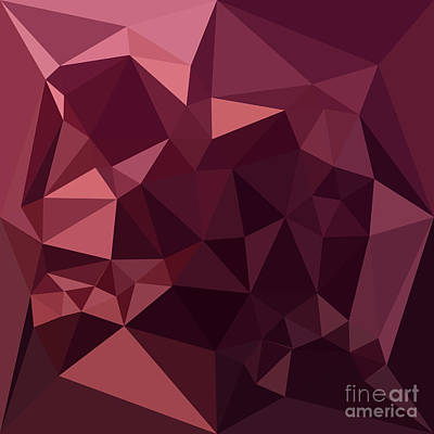Raspberry Digital Art - Dark Raspberry Red Abstract Low Polygon Background by Aloysius Patrimonio