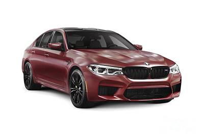 Photograph - Dark Red 2018 Bmw M5 Performance Car Sport Sedan Art Photo Print by Oleksiy Maksymenko