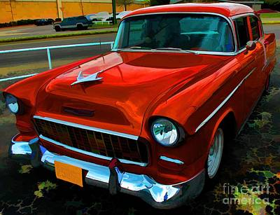 Photograph - Dark Red 55 Chevy by Diana Mary Sharpton