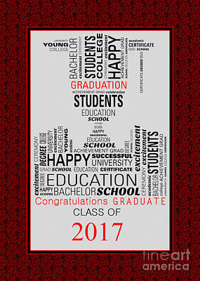 Digital Art - Dark Red Graduate Collage 2017 by JH Designs