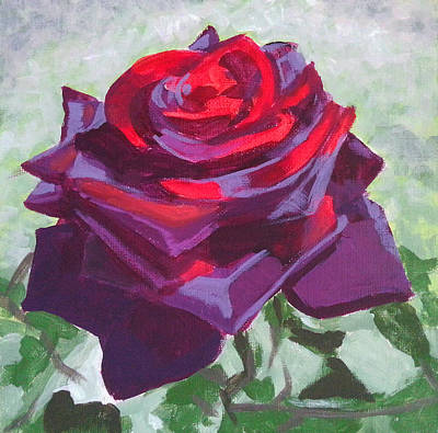 Red Roses Painting - Dark Red Rose by Angelina Sofronova