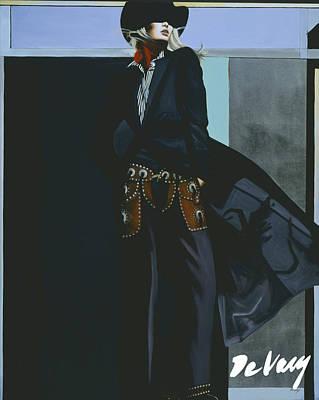 Beautiful Western Cowgirl Painting - Dark Shadow by David DeVary