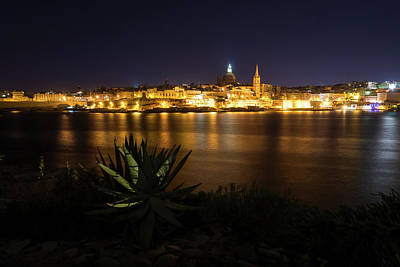 Photograph - Dark Shore Bright Shore - Marsamxett Harbour And Valletta Malta Skyline by Georgia Mizuleva