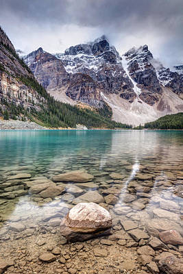 Photograph - Dark Skies At Moraine Lake by Pierre Leclerc Photography