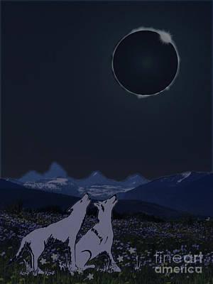 Digital Art - Dark Sky Eclipse Flare by Shelley Myers