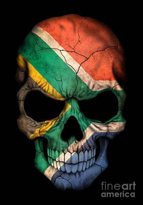 Dark South African Flag Skull Art Print by Jeff Bartels