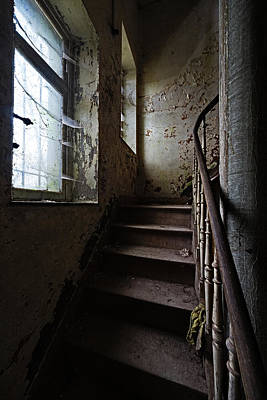 Dark Stairs Haunted House Urban Exploration Art Print by Dirk Ercken