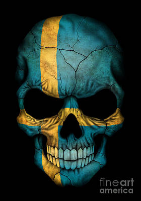 Sweden Digital Art - Dark Swedish Flag Skull by Jeff Bartels