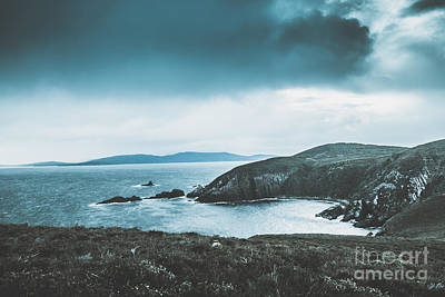 Dark Tense And Dramatic Sea Cliffs Art Print