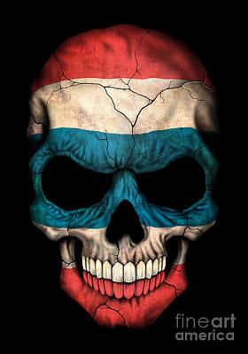 Jeff Digital Art - Dark Thai Flag Skull by Jeff Bartels