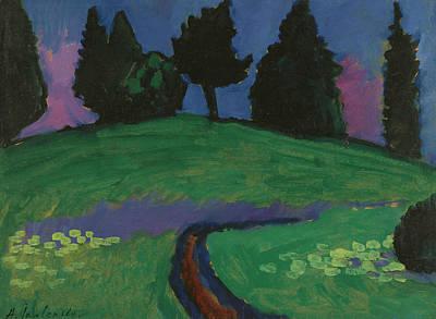 Jawlensky Painting - Dark Trees Over Green Slope by Alexej von Jawlensky