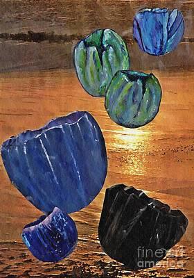 Sunset Abstract Mixed Media - Dark Tulip Sunset by Sarah Loft