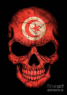 Jeff Digital Art - Dark Tunisian Flag Skull by Jeff Bartels