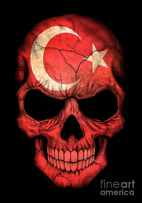 Dark Turkish Flag Skull Art Print by Jeff Bartels