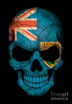Jeff Digital Art - Dark Turks And Caicos Flag Skull by Jeff Bartels