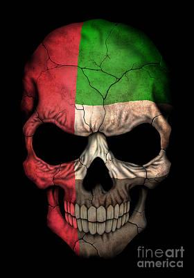Jeff Digital Art - Dark Uae Flag Skull by Jeff Bartels