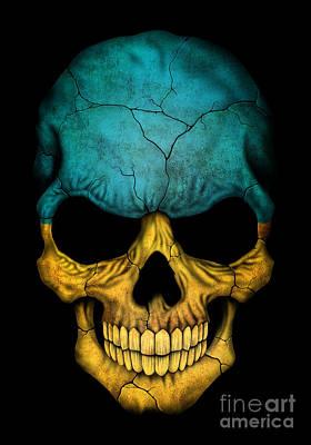 Jeff Digital Art - Dark Ukrainian Flag Skull by Jeff Bartels