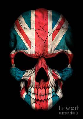 Jeff Digital Art - Dark Union Jack British Flag Skull by Jeff Bartels