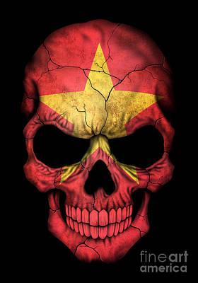 Jeff Digital Art - Dark Vietnamese Flag Skull by Jeff Bartels