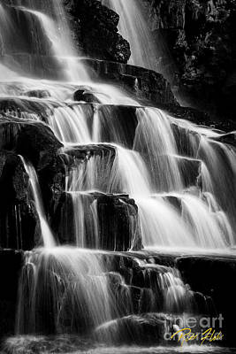 Photograph - Dark Waterfall In Monochrome  by Rikk Flohr