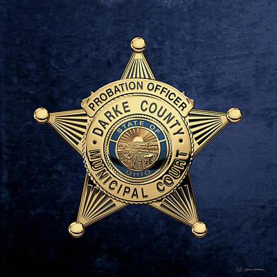 Darke County Municipal Court - Probation Officer Badge Over Blue Velvet Art Print by Serge Averbukh