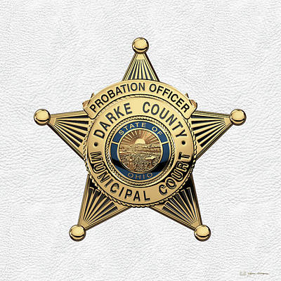 Darke County Municipal Court - Probation Officer Badge Over White Leather Original by Serge Averbukh