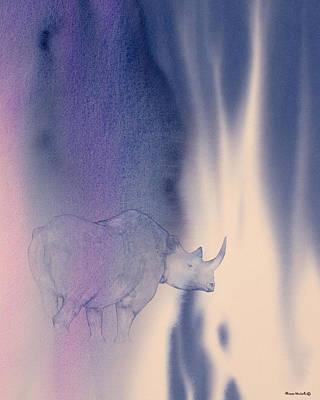 Rhinoceros Painting - Darkness by Alison Nicholls