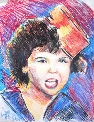 Darla Drawing - Darla Little Rascals  by Jon Baldwin  Art