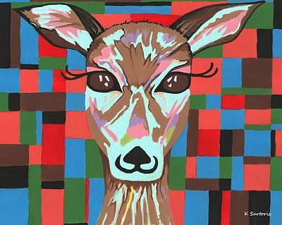 Art Print featuring the painting Darling Deer by Kathleen Sartoris
