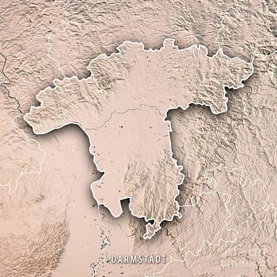 Digital Art - Darmstadt Regierungsbezirk Hessen 3d Render Topographic Map Neut by Frank Ramspott