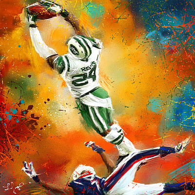 Action Sports Art Painting - Darrelle Revis Action Shot by Lourry Legarde