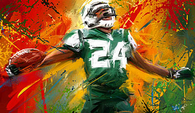 Game Painting - Darrelle Revis Colorful Portrait by Lourry Legarde