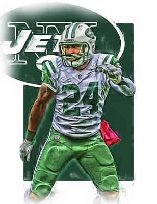 Jets Mixed Media - Darrelle Revis New York Jets Oil Art by Joe Hamilton