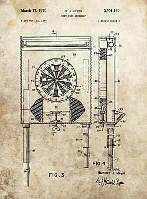 Dart Board Game Patent Art Print by Dan Sproul