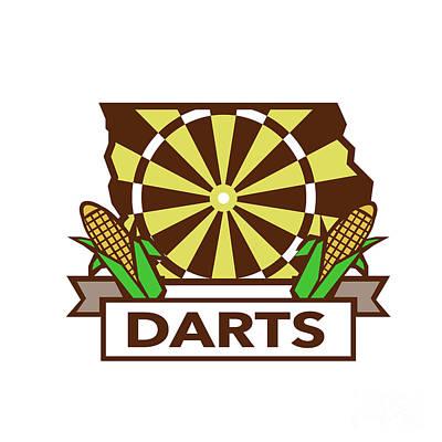 Dart Digital Art - Dart Board Iowa State Map Corn Retro by Aloysius Patrimonio