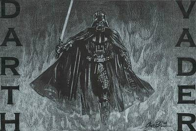 Drawing - Darth Vader by Chris Brown