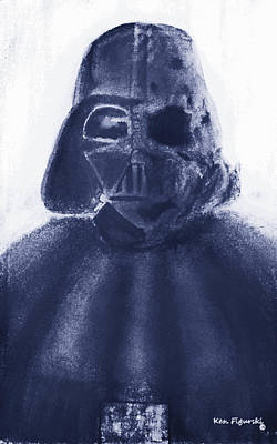 Darth Vader Painting - Darth Vader Half Melted Face 2 by Ken Figurski