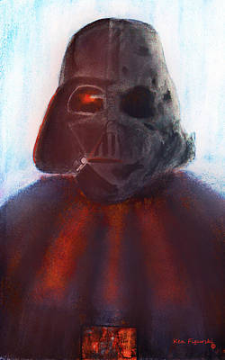 Scary Painting - Darth Vader Half Melted Face by Ken Figurski